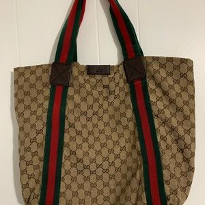 Gucci Vintage Shelly Line GG Hand Tote Bag - Brown